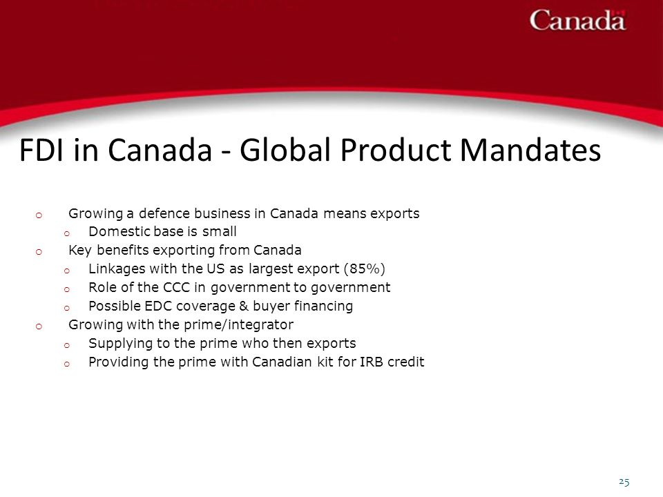 FDI in Canada - Global Product Mandates