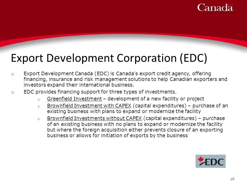 Export Development Corporation (EDC)