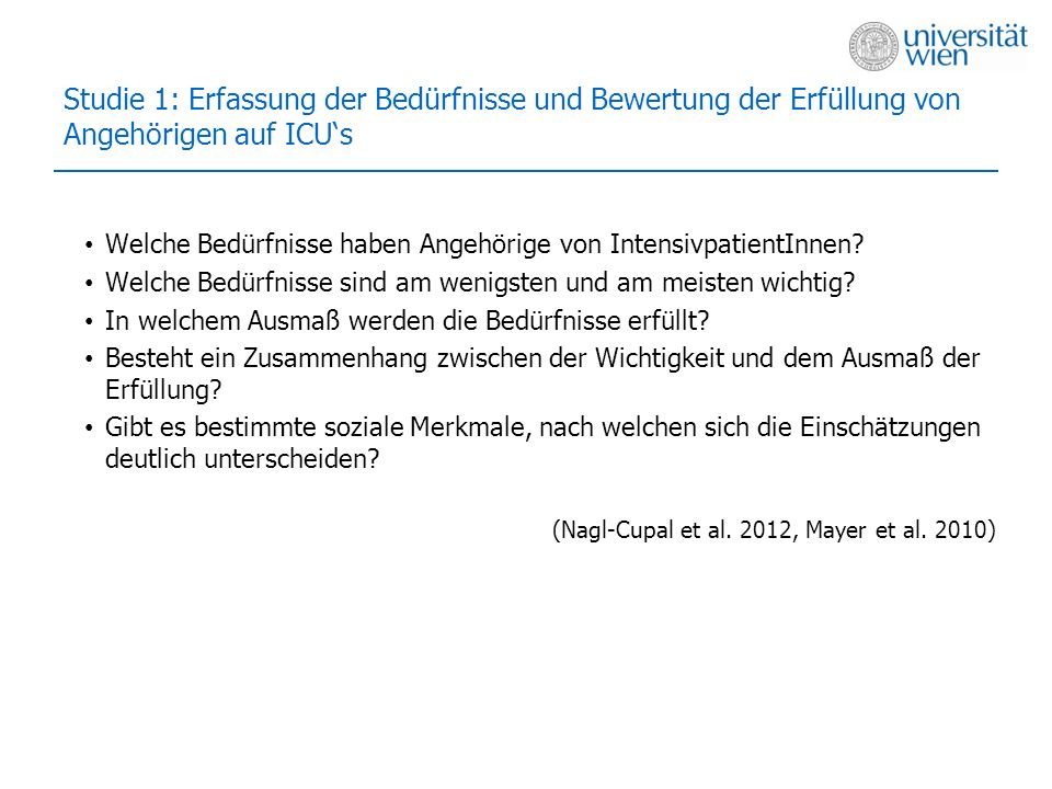 Studie 1: Erfassung der Bedürfnisse und Bewertung der Erfüllung von Angehörigen auf ICU's