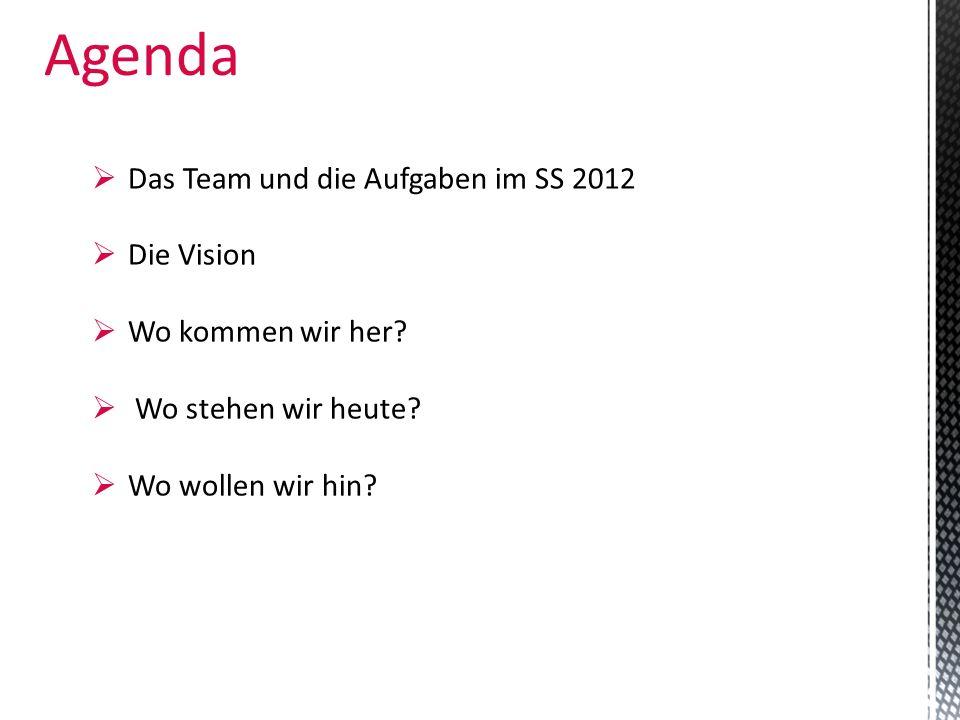 Agenda Das Team und die Aufgaben im SS 2012 Die Vision