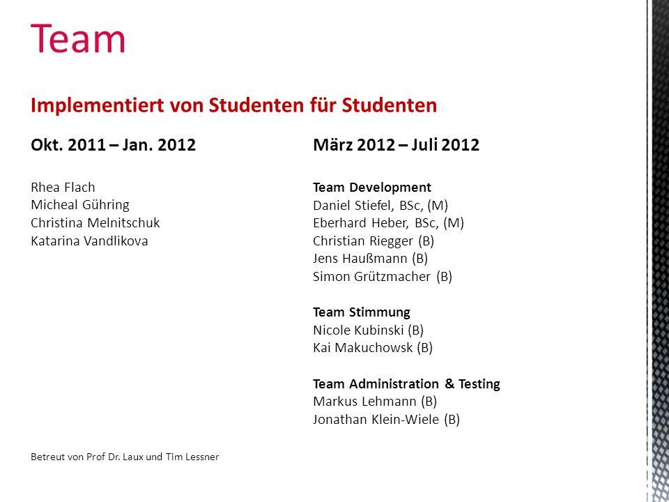 Team Implementiert von Studenten für Studenten Okt. 2011 – Jan. 2012