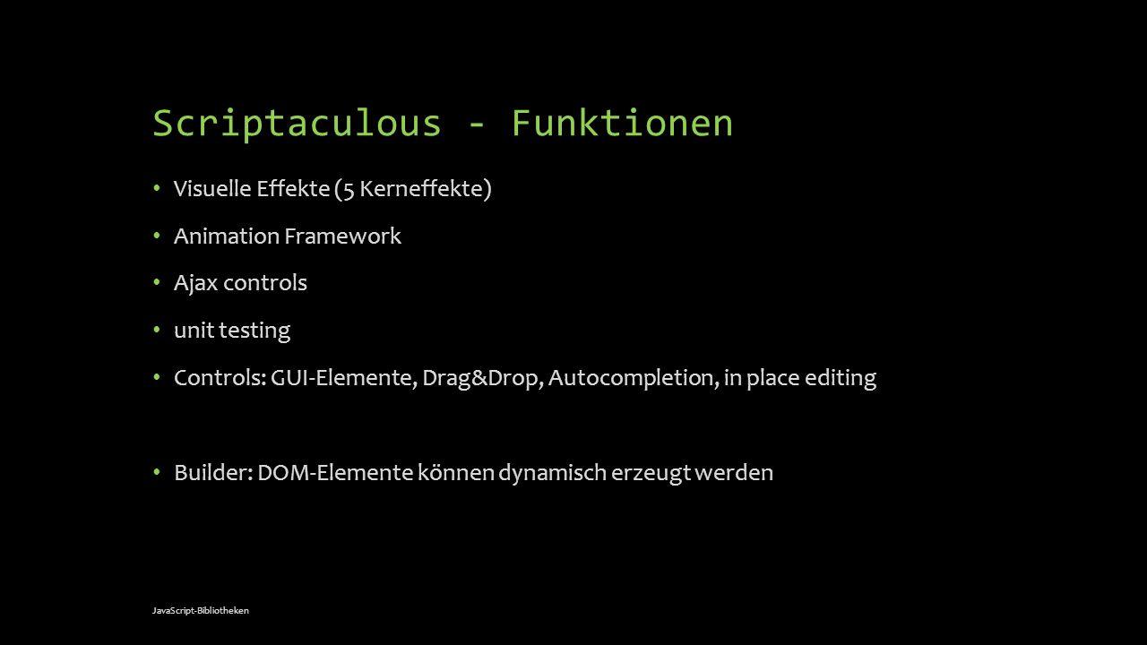 Scriptaculous - Funktionen