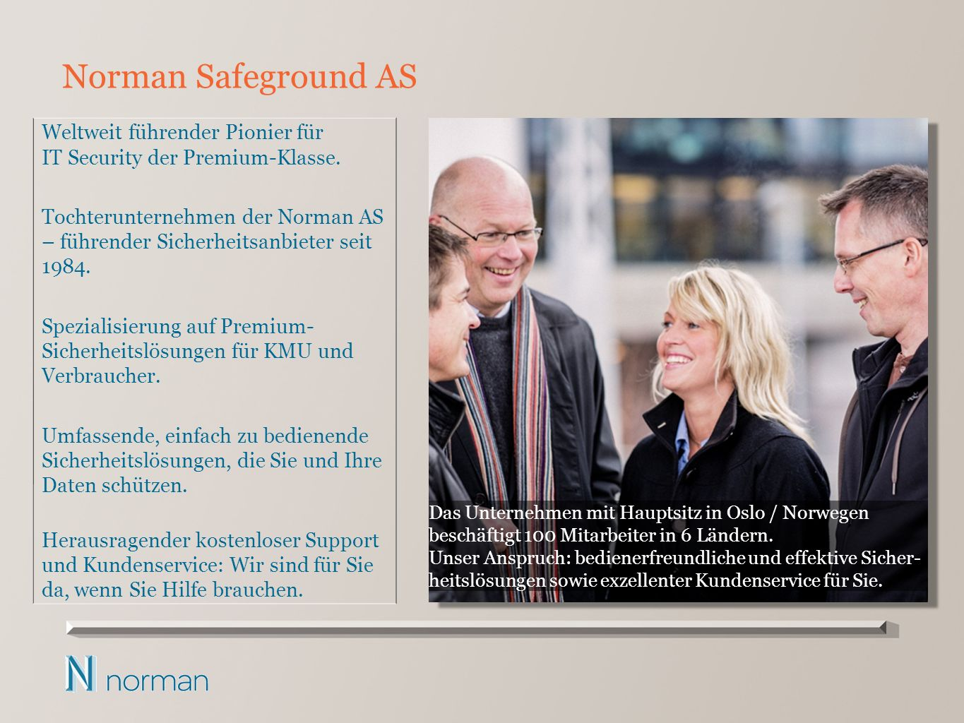 Norman Safeground AS Weltweit führender Pionier für IT Security der Premium-Klasse.