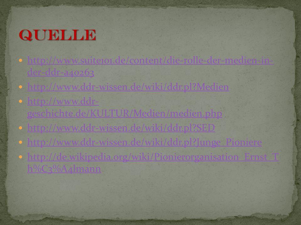 Quelle http://www.suite101.de/content/die-rolle-der-medien-in- der-ddr-a40263. http://www.ddr-wissen.de/wiki/ddr.pl Medien.