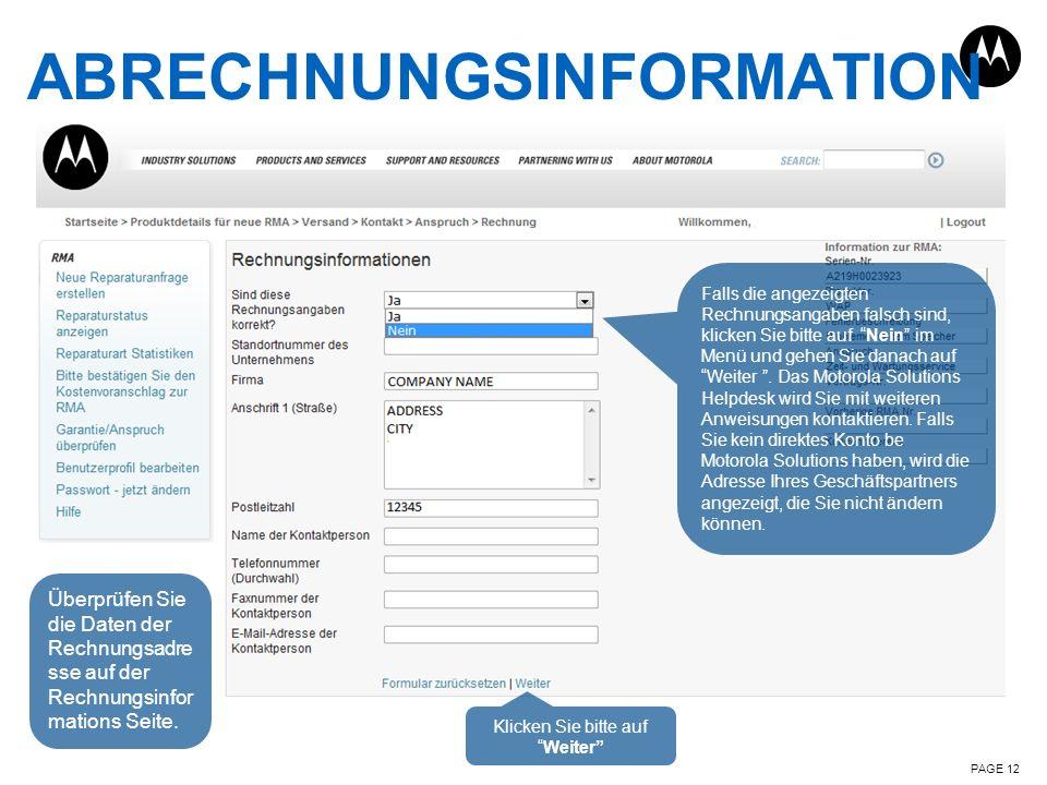ABRECHNUNGSINFORMATION