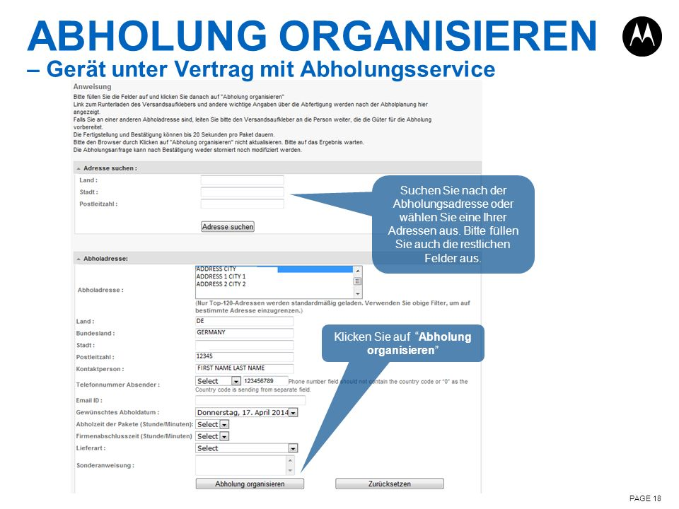 ABHOLUNG ORGANISIEREN – Gerät unter Vertrag mit Abholungsservice