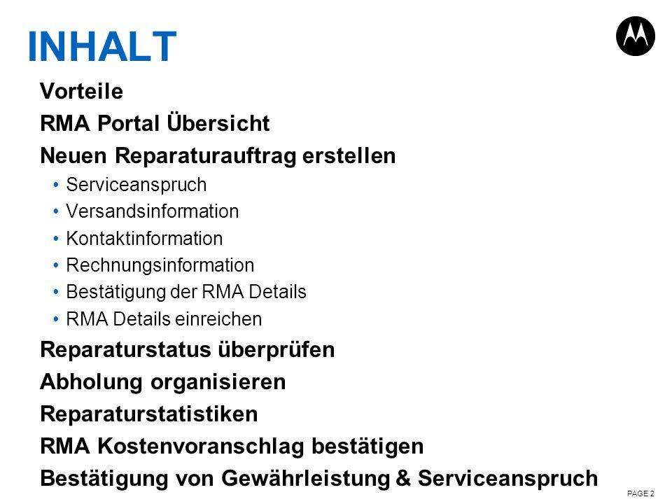 INHALT Vorteile RMA Portal Übersicht Neuen Reparaturauftrag erstellen