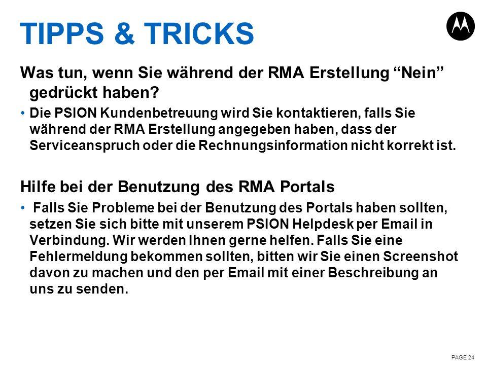 TIPPS & TRICKS Was tun, wenn Sie während der RMA Erstellung Nein gedrückt haben