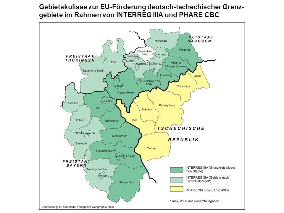 Gebietskulisse zur EU-Förderung deutsch-tschechischer Grenz-gebiete im Rahmen von INTERREG IIIA und PHARE CBC