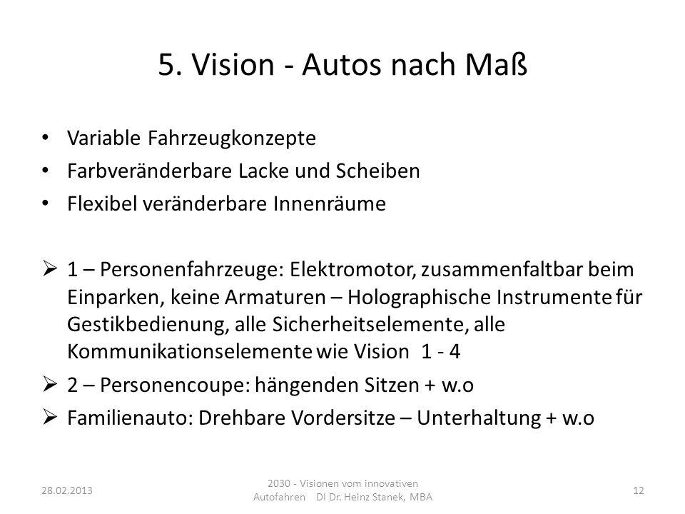 2030 - Visionen vom innovativen Autofahren DI Dr. Heinz Stanek, MBA