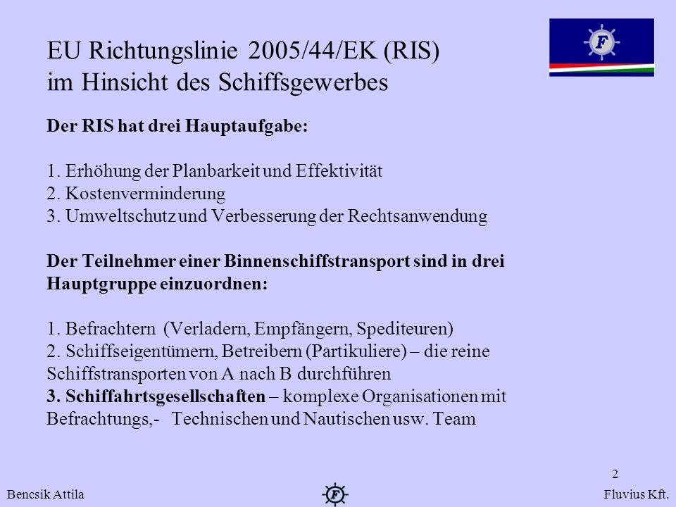 EU Richtungslinie 2005/44/EK (RIS) im Hinsicht des Schiffsgewerbes
