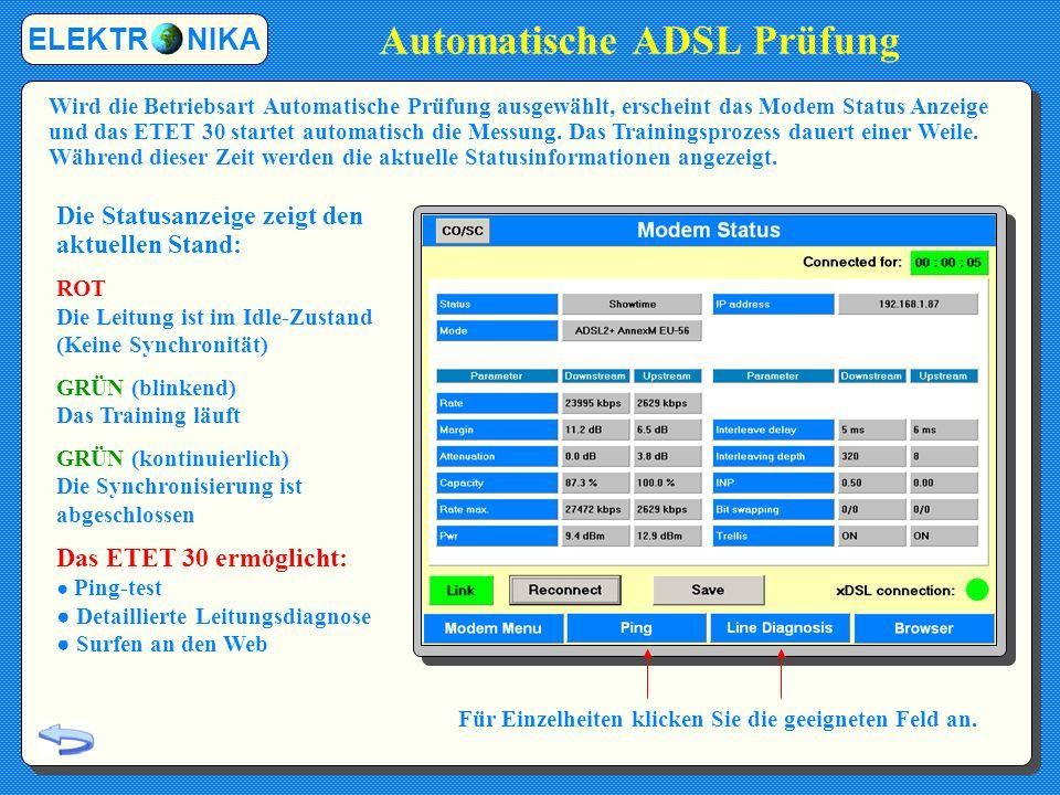 Automatische ADSL Prüfung