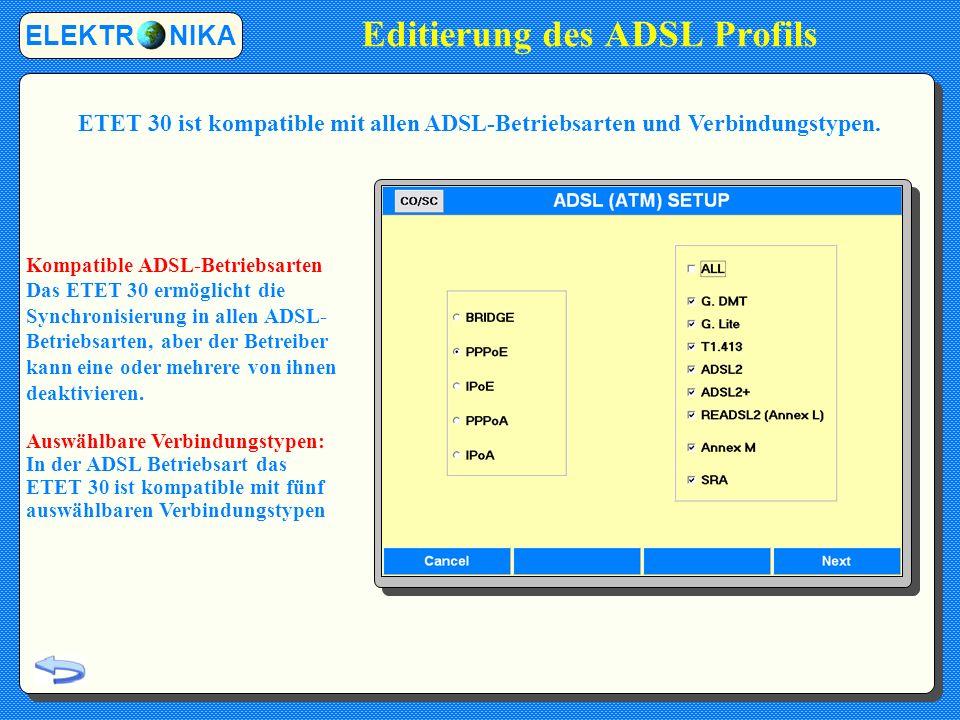 Editierung des ADSL Profils
