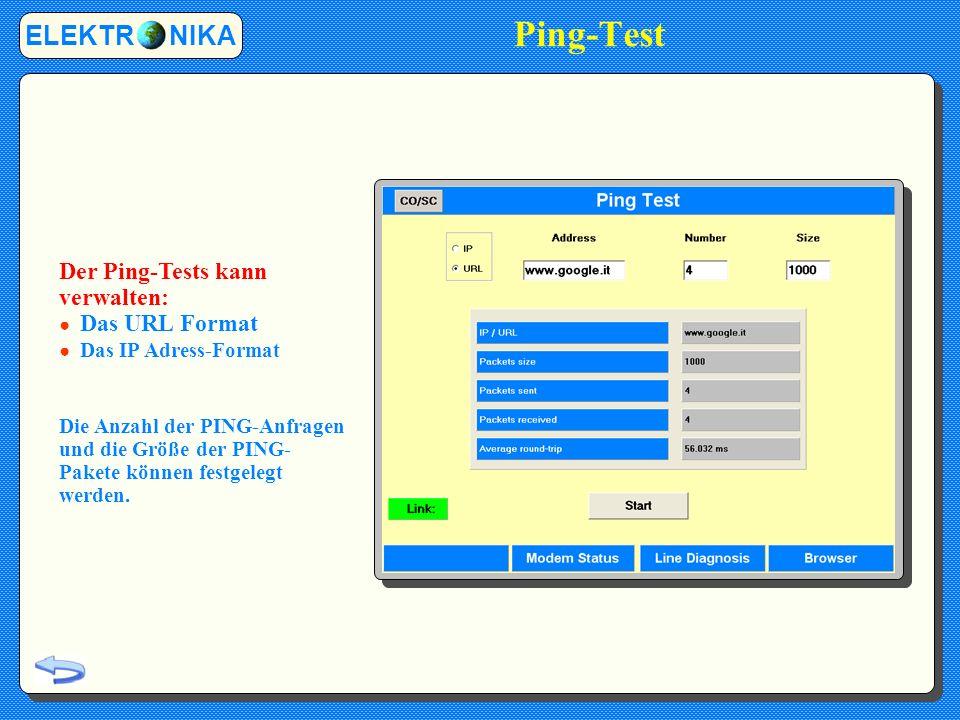Ping-Test ELEKTR NIKA Der Ping-Tests kann verwalten: