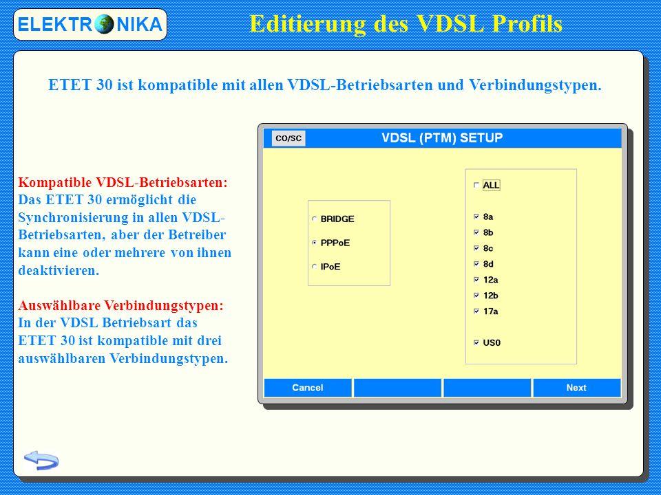 Editierung des VDSL Profils