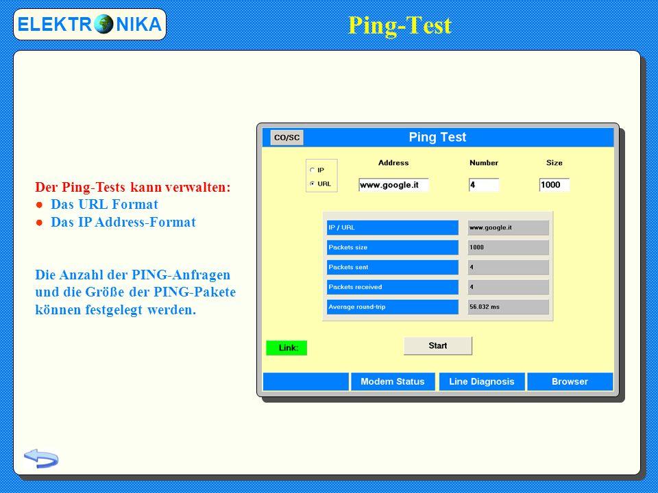 Ping-Test ELEKTR NIKA Der Ping-Tests kann verwalten: ● Das URL Format