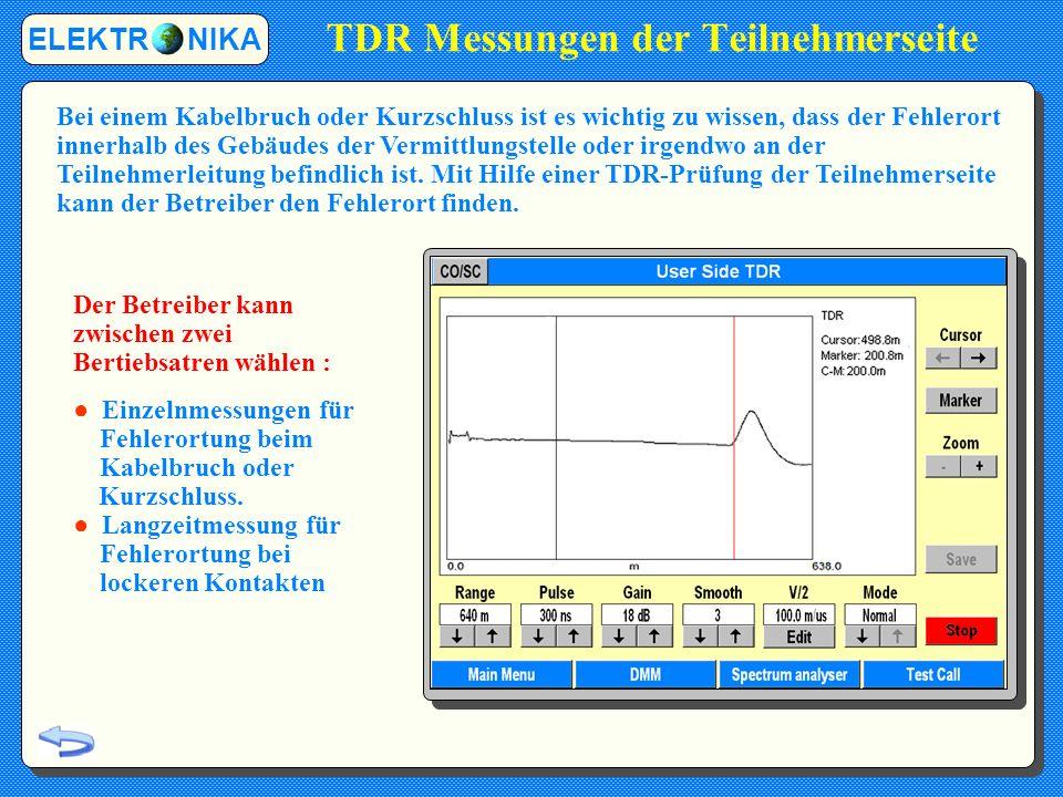 TDR Messungen der Teilnehmerseite