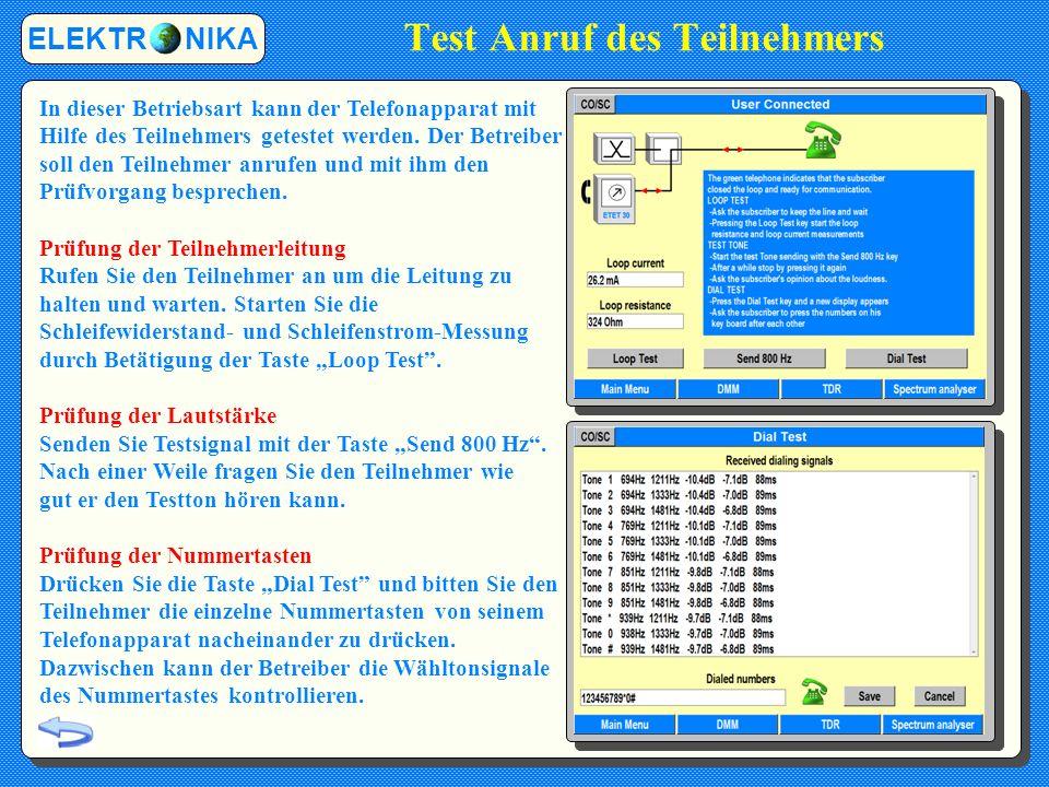 Test Anruf des Teilnehmers