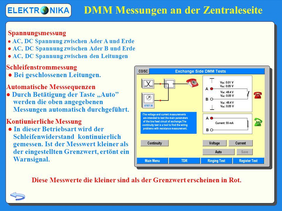 DMM Messungen an der Zentraleseite
