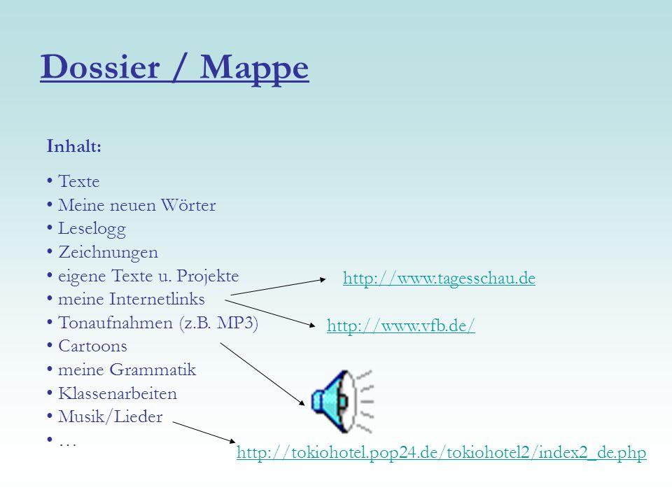 Dossier / Mappe Inhalt: Texte Meine neuen Wörter Leselogg Zeichnungen