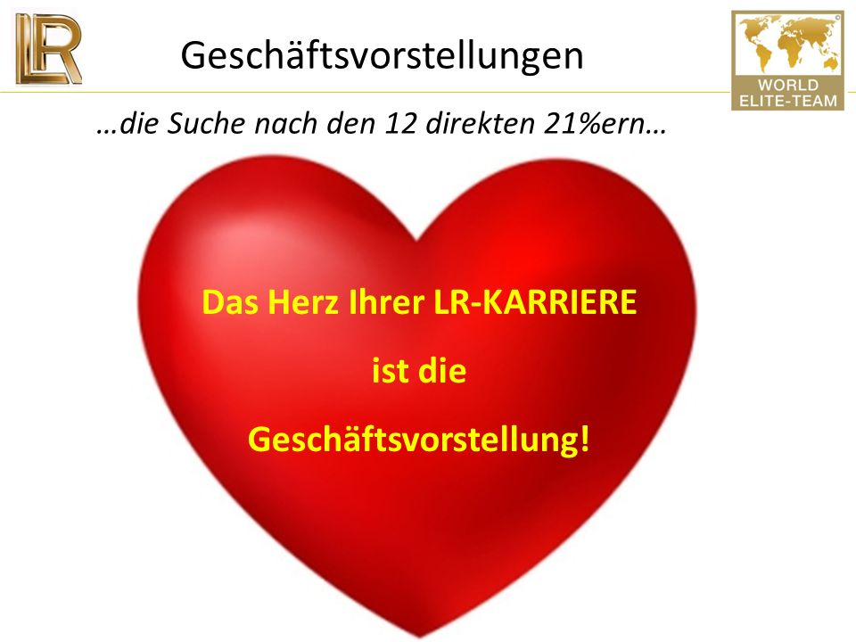 Das Herz Ihrer LR-KARRIERE Geschäftsvorstellung!
