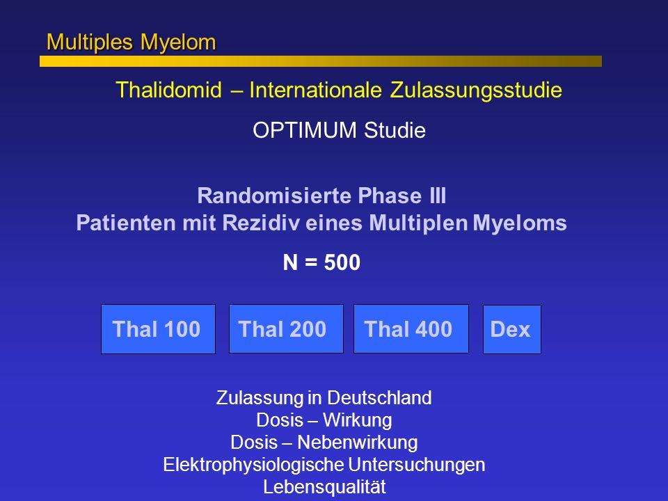 Randomisierte Phase III Patienten mit Rezidiv eines Multiplen Myeloms