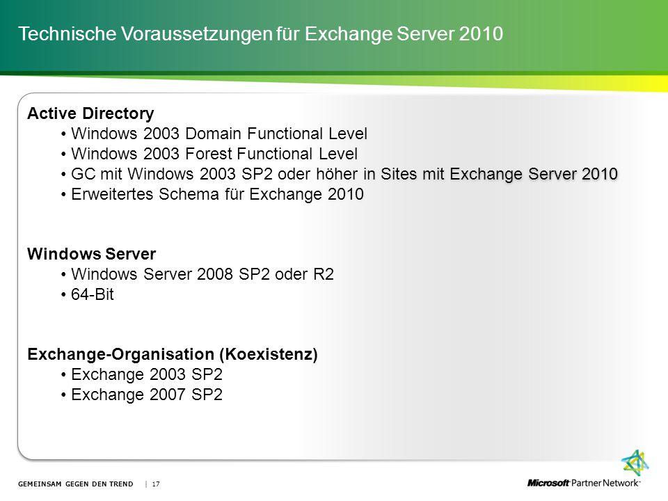 Technische Voraussetzungen für Exchange Server 2010
