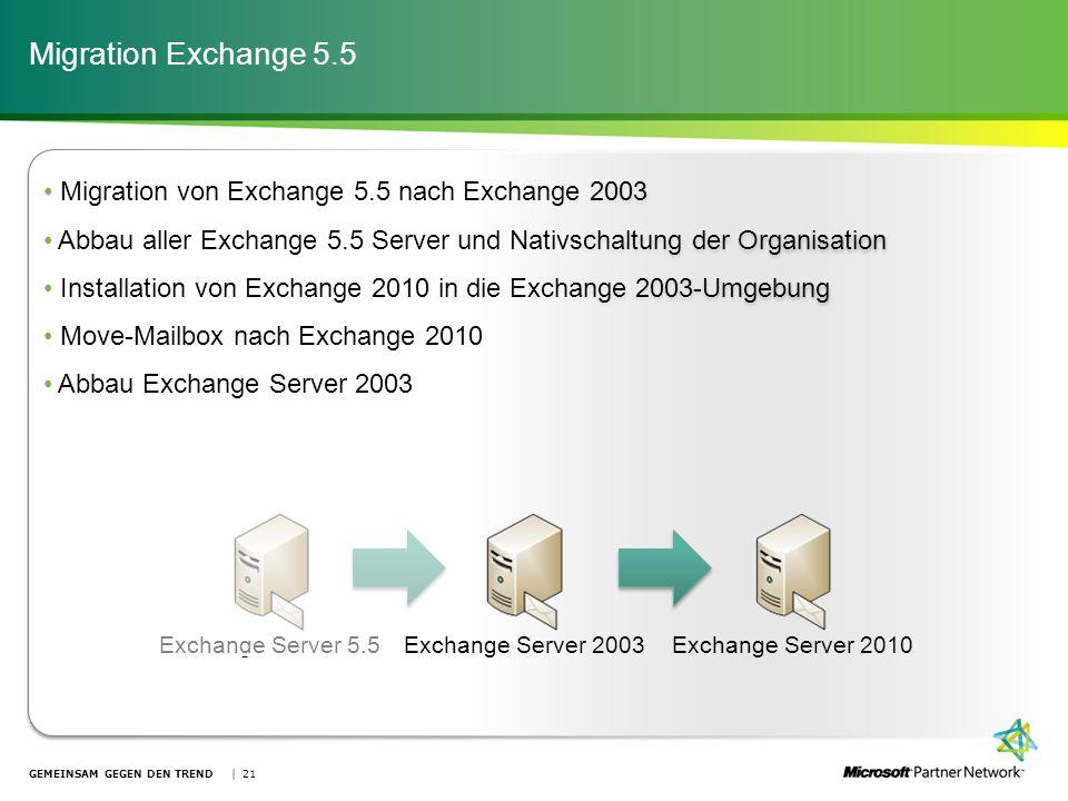 Migration Exchange 5.5 Migration von Exchange 5.5 nach Exchange 2003