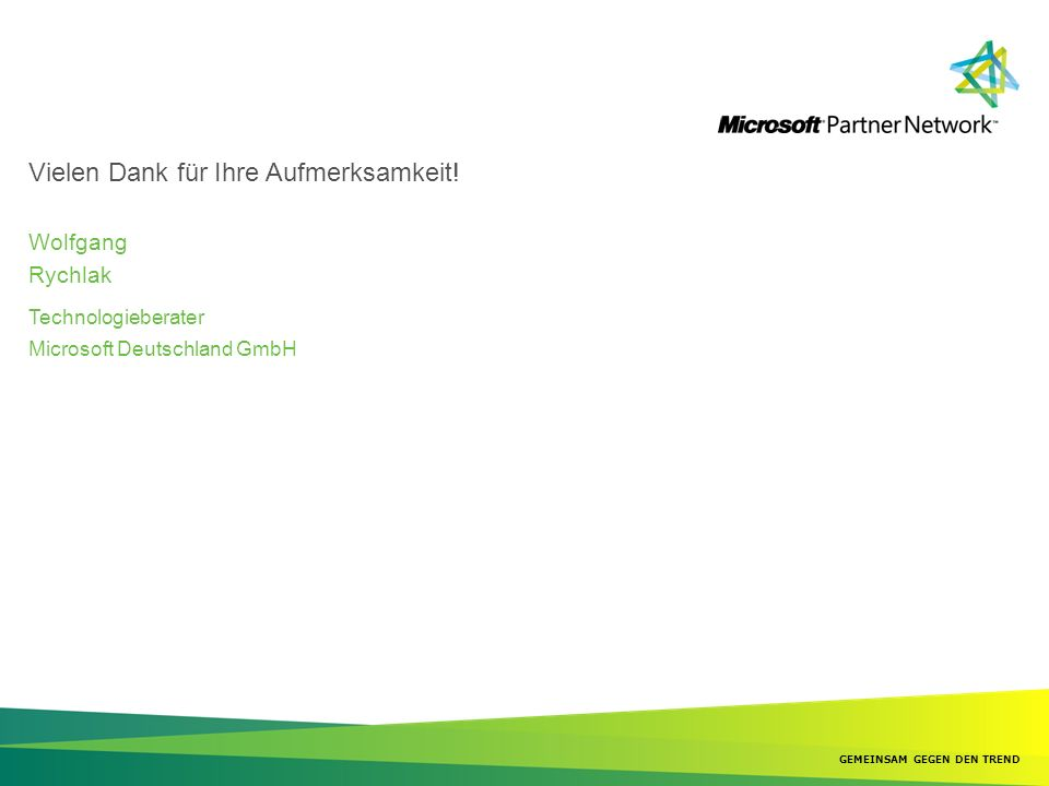 Wolfgang Rychlak Technologieberater Microsoft Deutschland GmbH