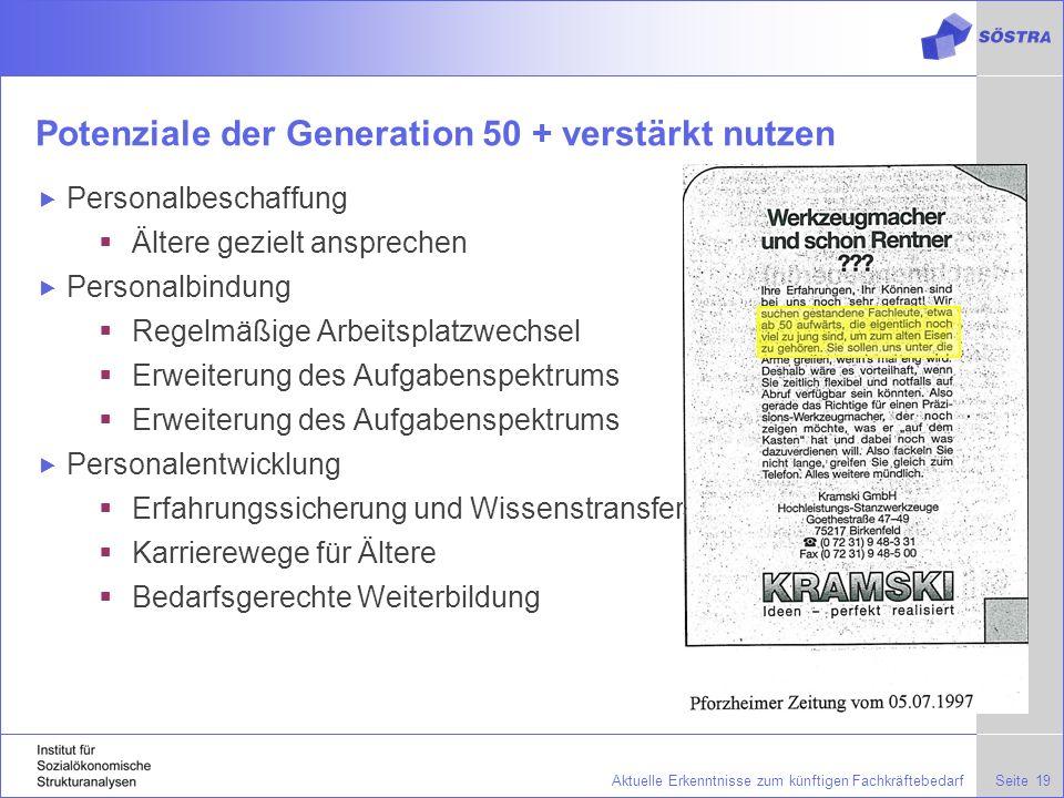 Potenziale der Generation 50 + verstärkt nutzen