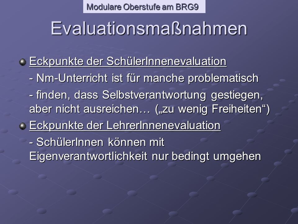 Evaluationsmaßnahmen