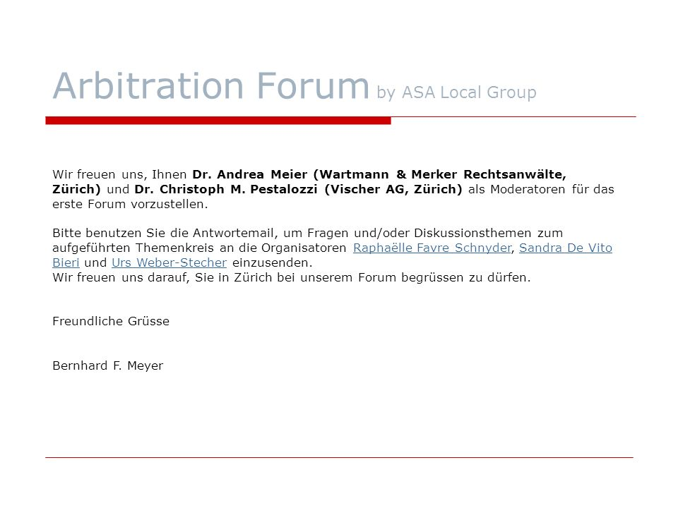 Arbitration Forum by ASA Local Group