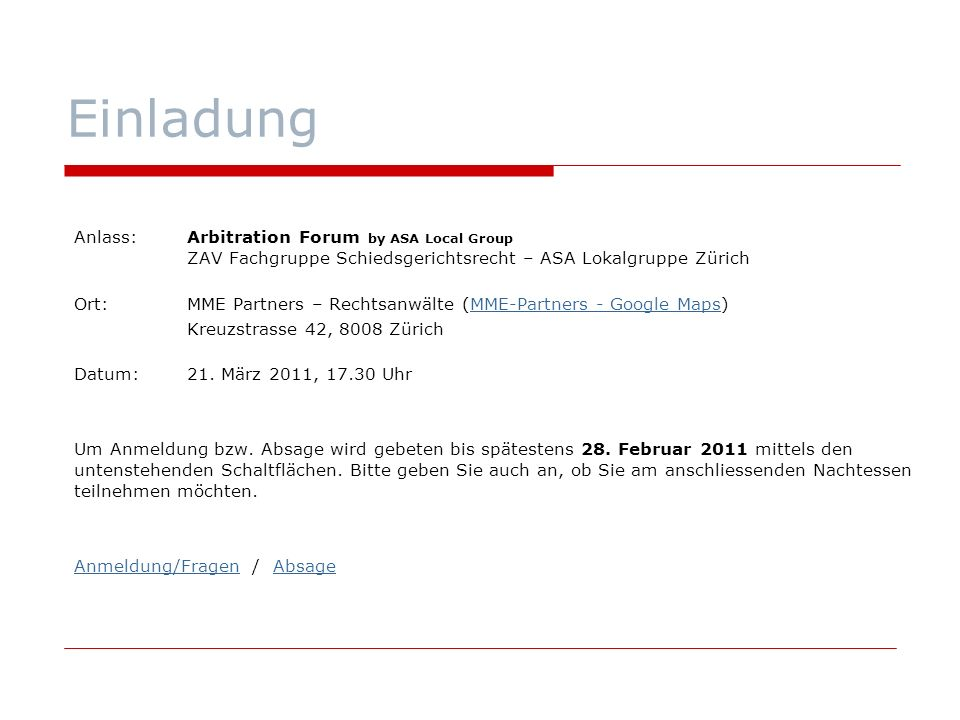 arbitration forum by asa local group - ppt herunterladen, Einladung