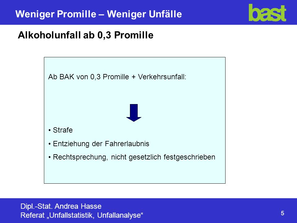 Alkoholunfall ab 0,3 Promille