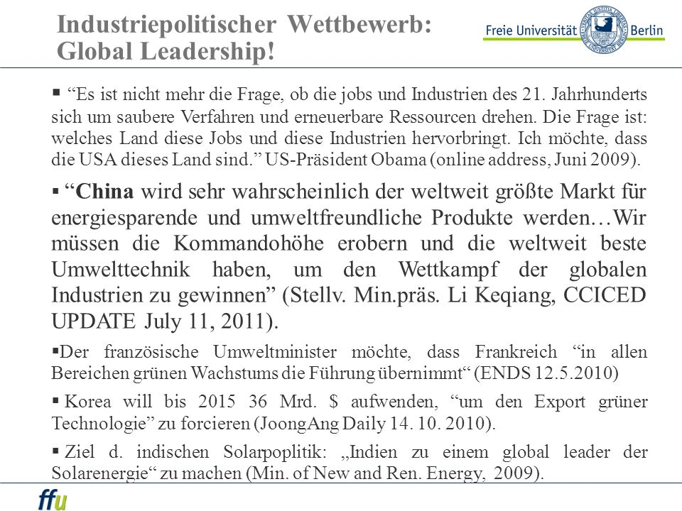 Industriepolitischer Wettbewerb: Global Leadership!
