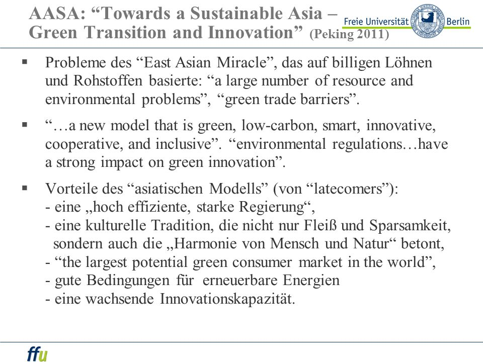 AASA: Towards a Sustainable Asia – Green Transition and Innovation (Peking 2011)