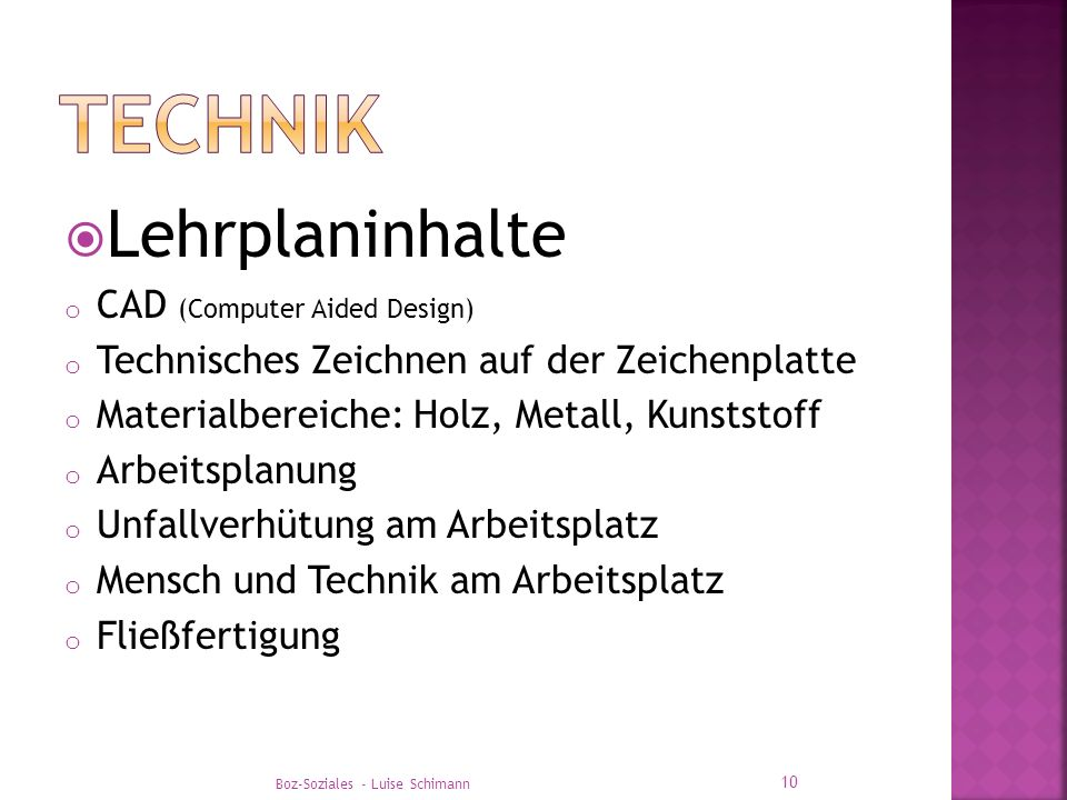 TEchnik Lehrplaninhalte CAD (Computer Aided Design)