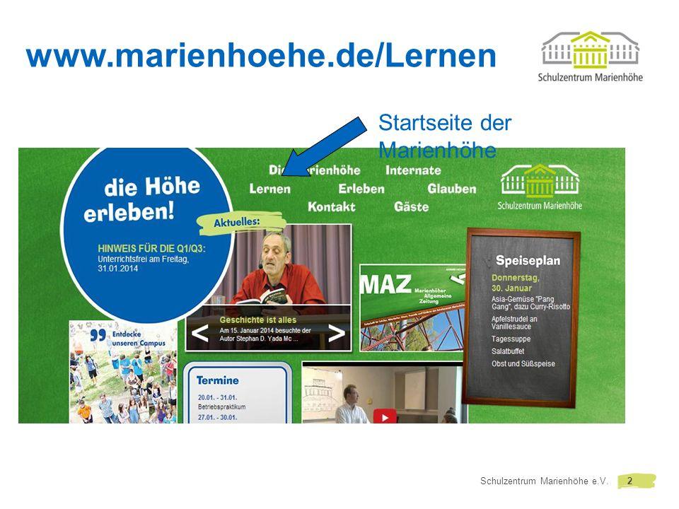 www.marienhoehe.de/Lernen Startseite der Marienhöhe