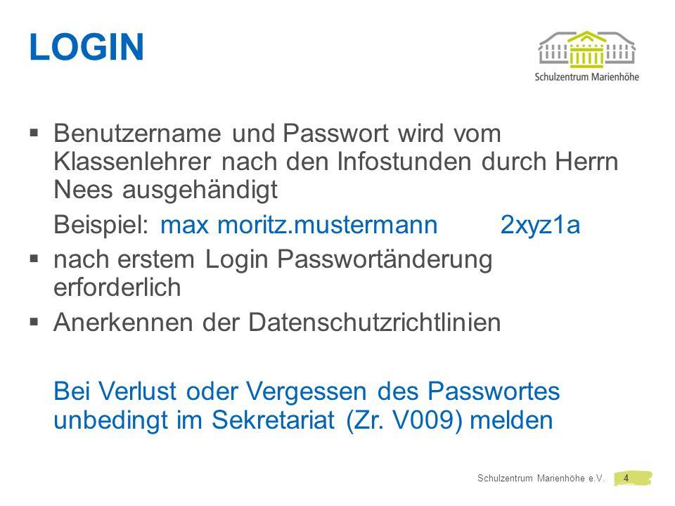 LOGIN Benutzername und Passwort wird vom Klassenlehrer nach den Infostunden durch Herrn Nees ausgehändigt.