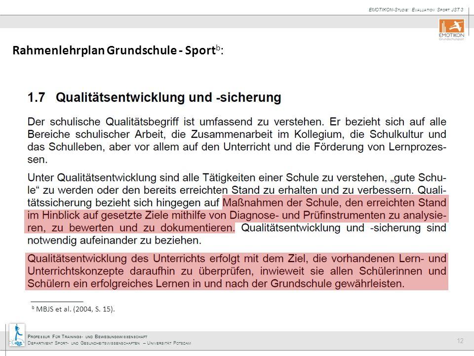 Rahmenlehrplan Grundschule - Sportb: