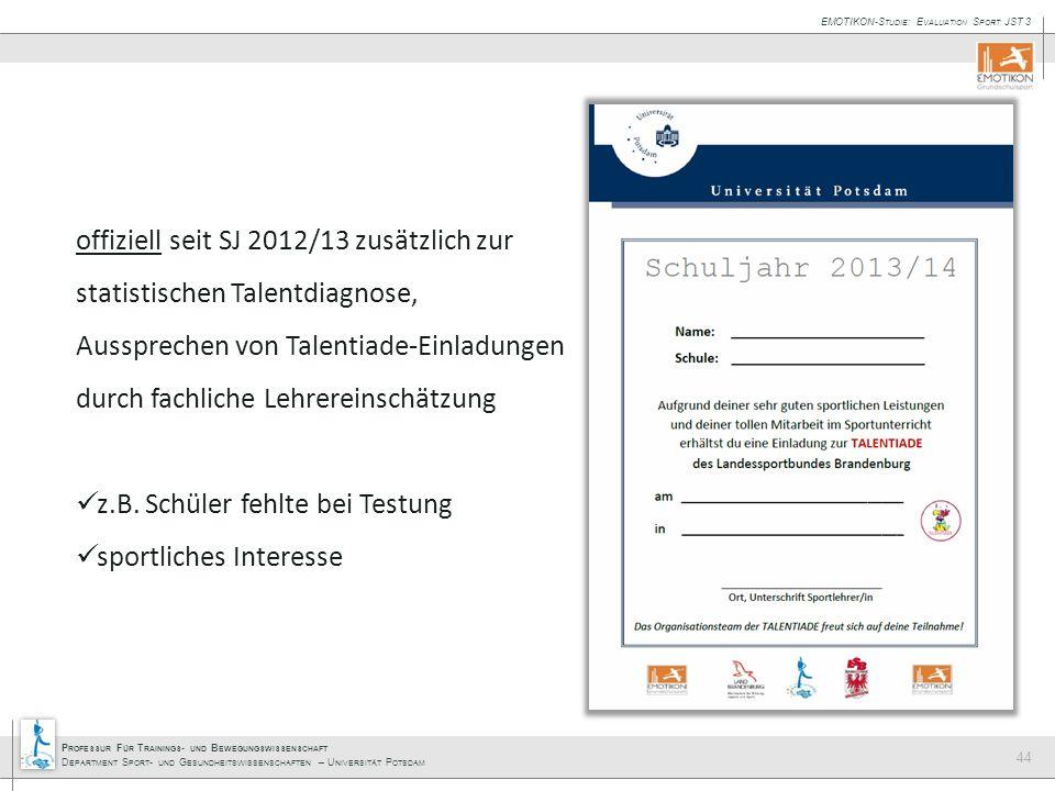 offiziell seit SJ 2012/13 zusätzlich zur statistischen Talentdiagnose, Aussprechen von Talentiade-Einladungen durch fachliche Lehrereinschätzung