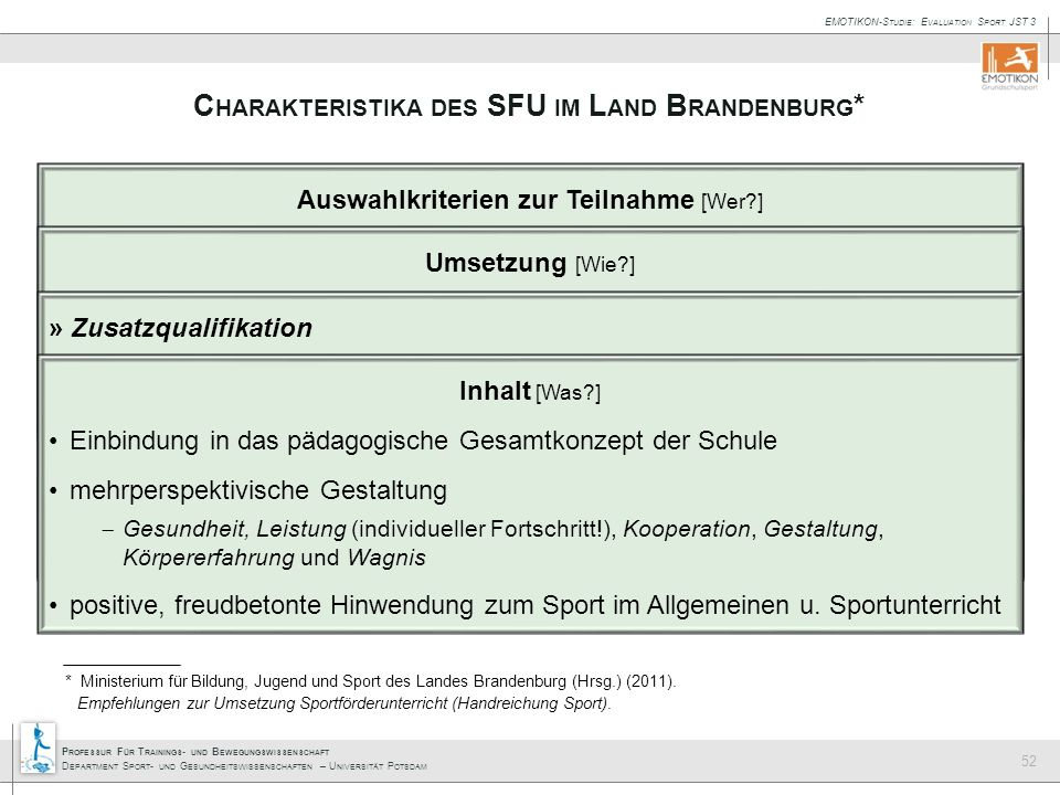 Charakteristika des SFU im Land Brandenburg*