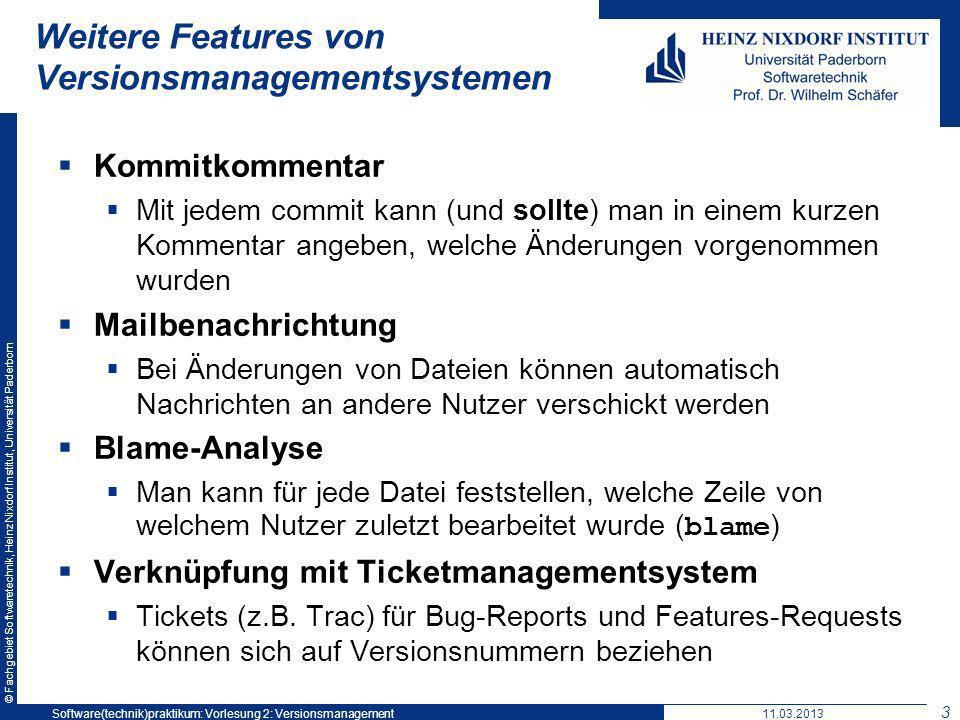 Weitere Features von Versionsmanagementsystemen