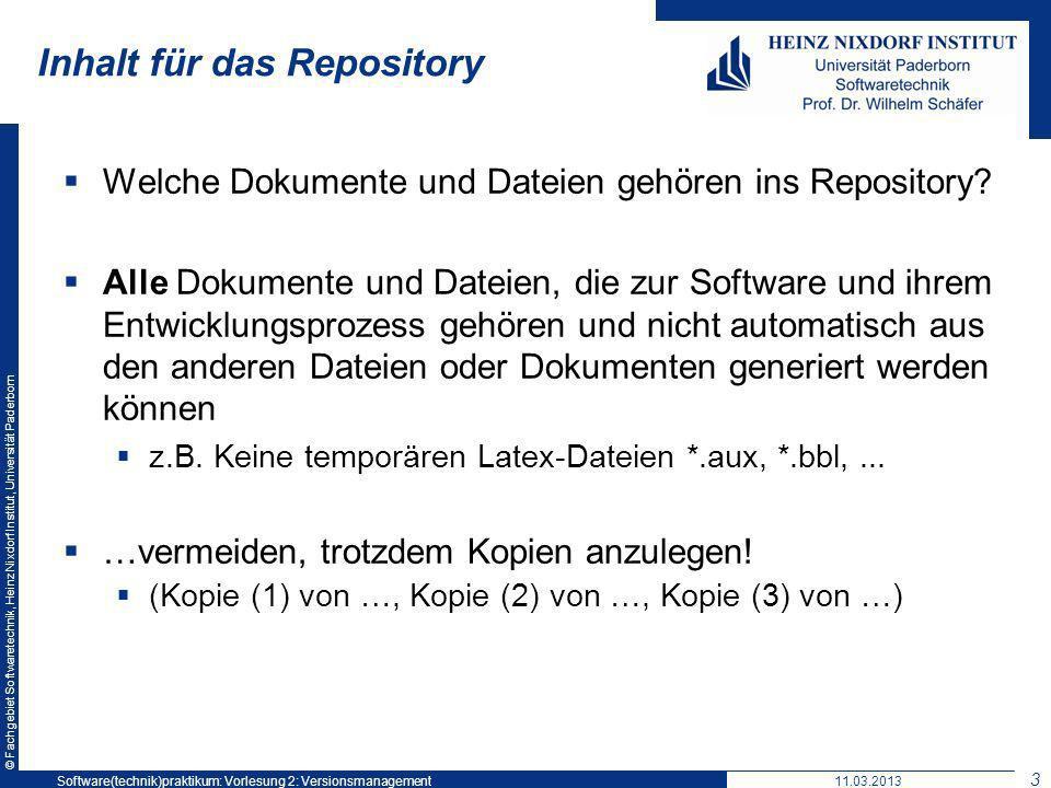 Inhalt für das Repository