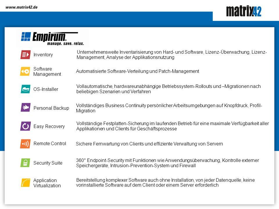 Unternehmensweite Inventarisierung von Hard- und Software, Lizenz-Überwachung, Lizenz-Management, Analyse der Applikationsnutzung