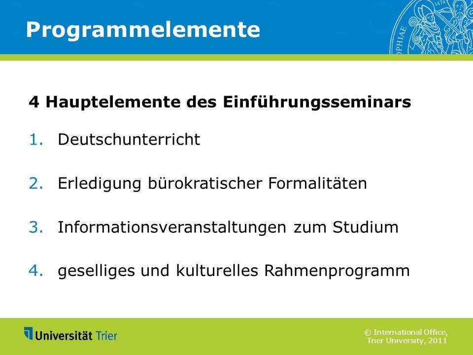 Programmelemente 4 Hauptelemente des Einführungsseminars