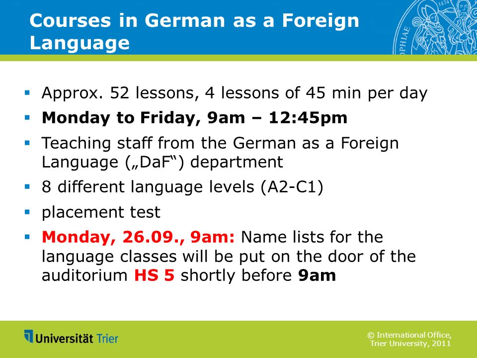 Courses in German as a Foreign Language