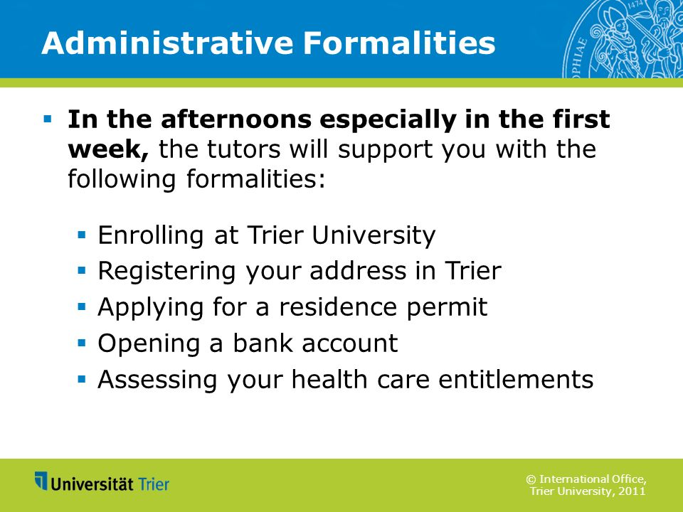 Administrative Formalities