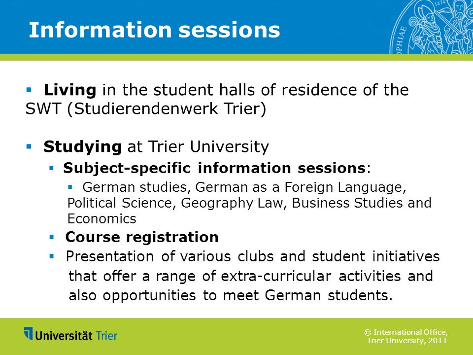 Information sessions Living in the student halls of residence of the SWT (Studierendenwerk Trier)