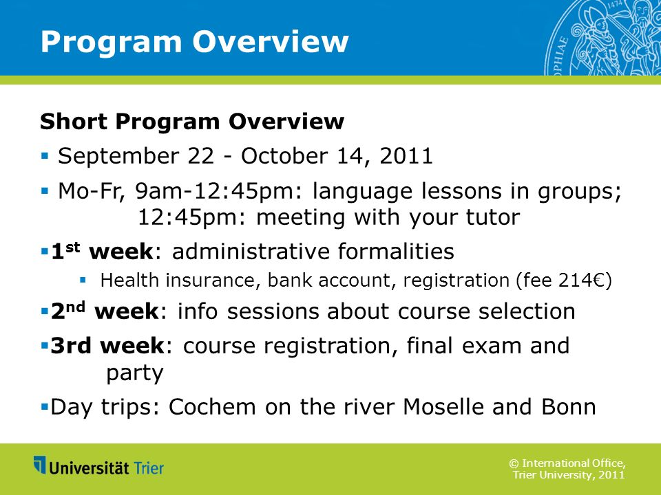 Program Overview Short Program Overview